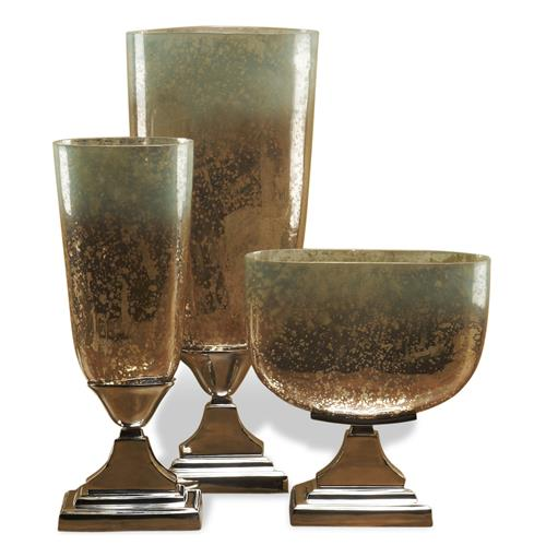 DuPage Hollywood Regency Style Trophy Mercury Glass Vases
