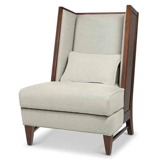 Dylan Mid Century Modern Wood Back Wing Back Accent Chair