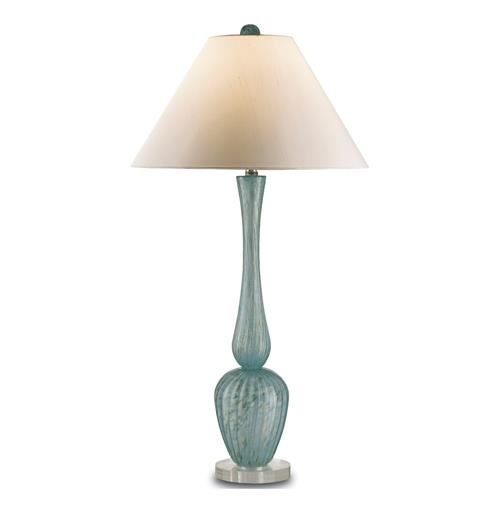 Elba Aqua Coastal Style Glass Tall Table Lamp