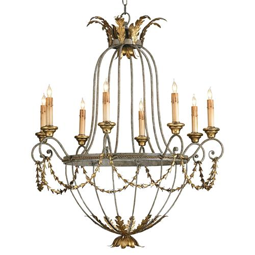 Elegance Open frame Gold Leaf 8 Light Chandelier