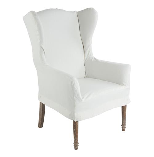 Dining Room Chair Back Covers: Eli French Country Wing Back Dining Arm Chair Slip Cover