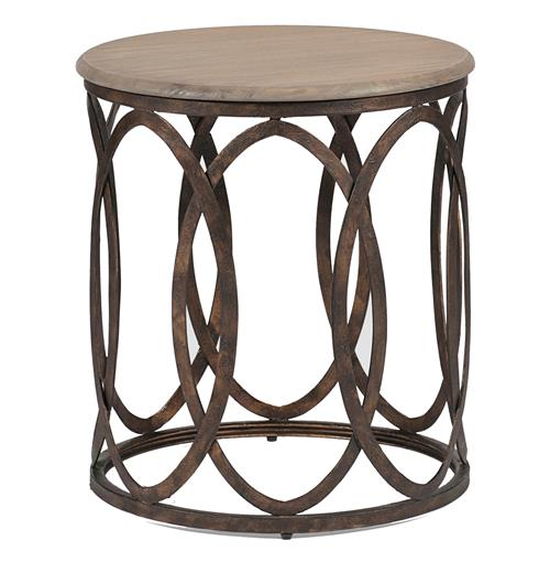 Ella Rustic Interlock Iron Oval Vintage Wood Top Side Table