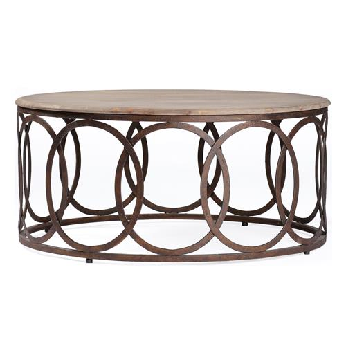 Ella Rustic Oak Interlocking Circle Coffee Table