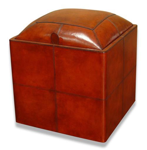 Ellington Leather Wrapped Modern Rustic Storage Ottoman Stool