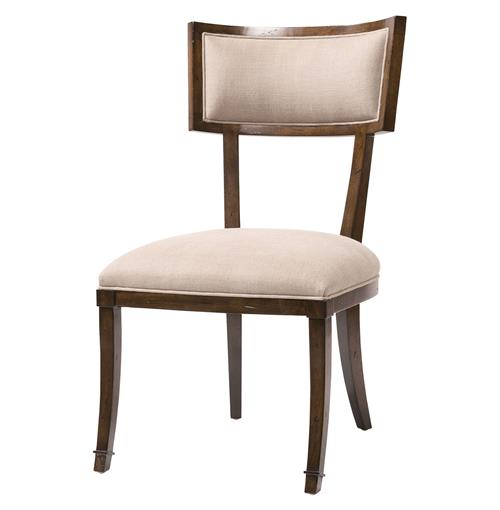 Elliott Greek Klismos Dark Brown Dove Linen Dining Side Chair