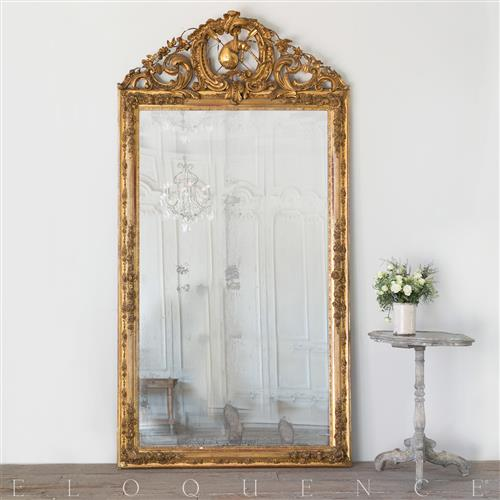 On The Floor French: Eloquence French Country Style Antique Floor Mirror: 1880