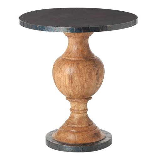 Everett Wood Oxidized Iron Modern Round Pedestal End Table | Kathy Kuo Home