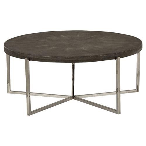 Felton Charcoal Grey Shagreen Round Iron Coffee Table