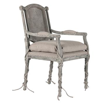Ferrel Antique Gray Shabby French Ballet Ties Dining Arm Chair