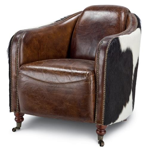 Fink Rustic Brown Leather Hair Hide Upholstered Arm Chair