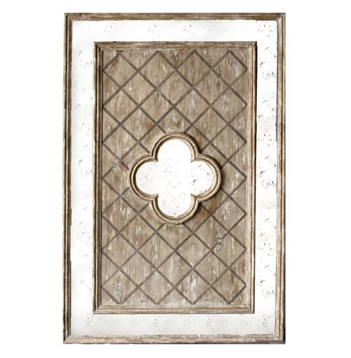 Fleur French Country Lattice Distressed Antique Wood Mirror