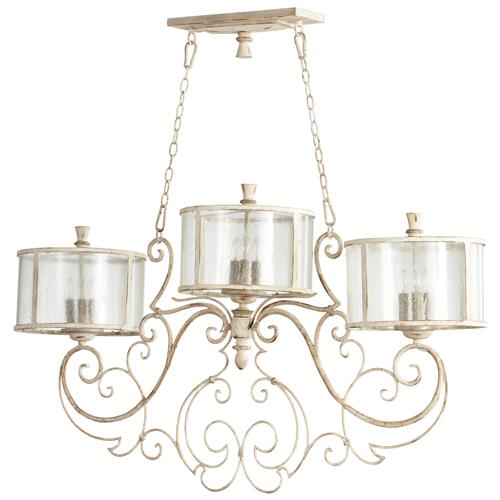 Florent French Country White 9 Light Island Chandelier