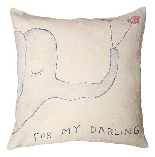 For My Darling Elephant Drawing Large Down Throw Pillow