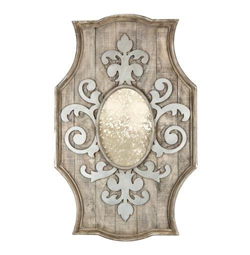 French Country Antique Inspired Fleur de Lis Wooden Mirror
