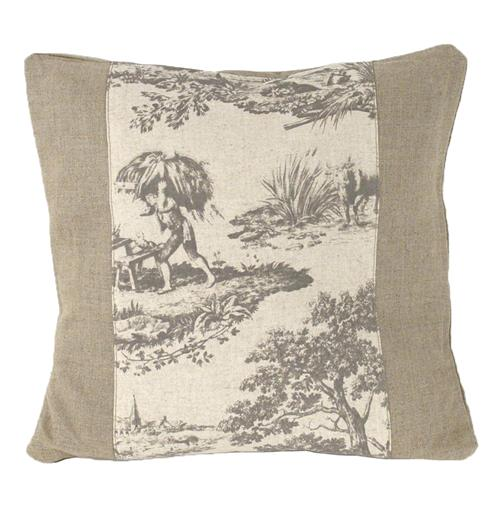 French Country Burlap Grey Toile Square Toss Pillow