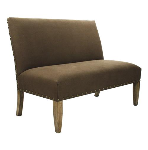 French Country Cottage Brown Suede Banquette Dining Settee