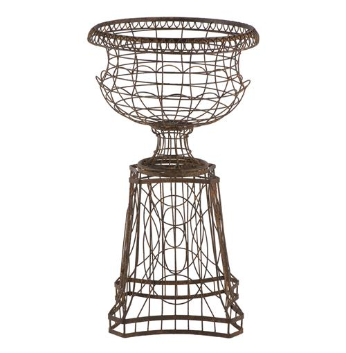 French Country Curved Base Wire Frame Planter