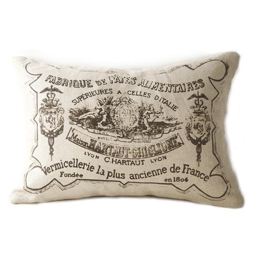 French Country Down Blend Pillow with Illustrations | Kathy Kuo Home