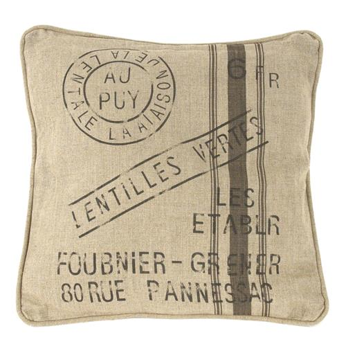 "French Country Farm Stand ""Lentilles Vertes"" Throw Pillow"