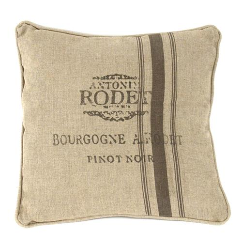 "French Country Farm Stand ""Pinot Noir"" Stripe Throw Pillow"