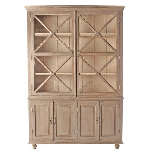 French Country Plantation 2 Door Hutch Cabinet- Large