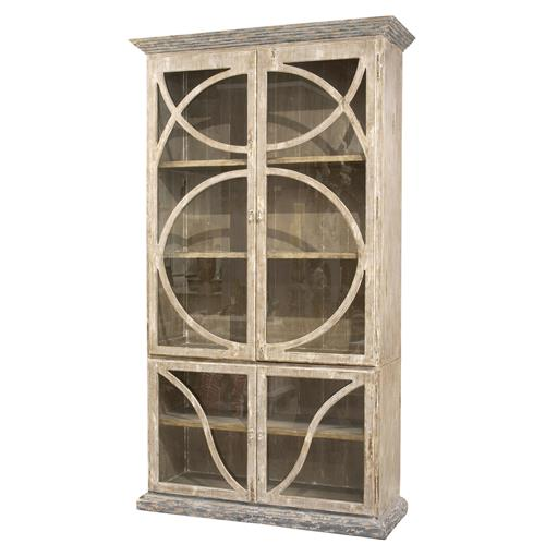 French Country Taupe Oak Reclaimed Wood Cabinet Vitrine