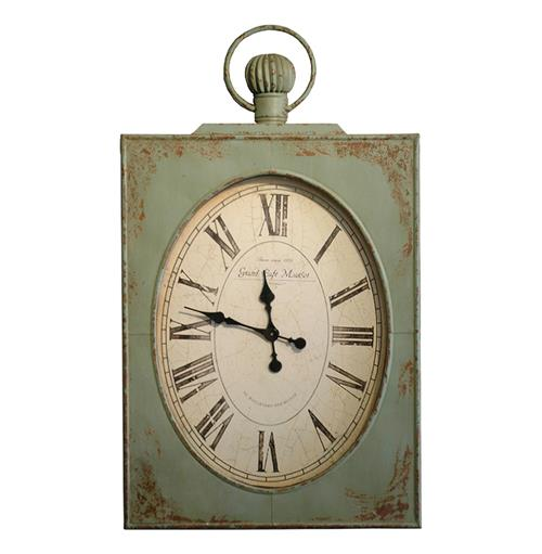 "French Country Vintage Green Grand Cafe 45"" Wall Clock"