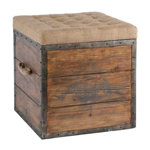 French Country Wood Crate Burlap Top Cube Ottoman | Kathy Kuo Home
