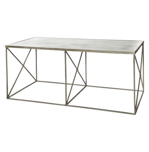 Vedel Industrial Loft Zinc Wood Rectangle Coffee Table: Furano Weathered Zinc Grey Antique Mirror Coffee Table