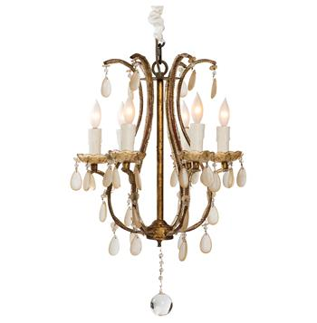 Fursdone Ivory Crystal French Style Antique 6 Light Gold Chandelier