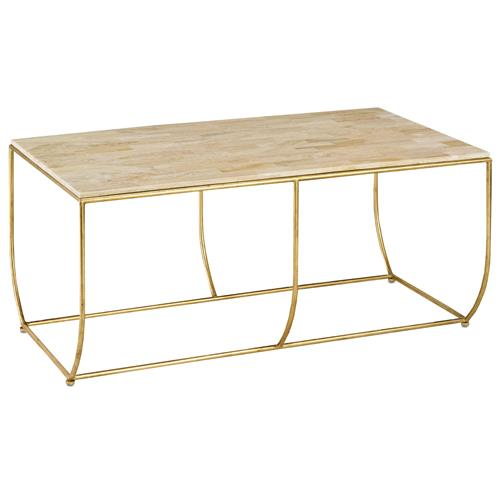 Gold Coffee Table With Stone Top: Galena Hollywood Regency Gold Leaf Stone Top Coffee Table