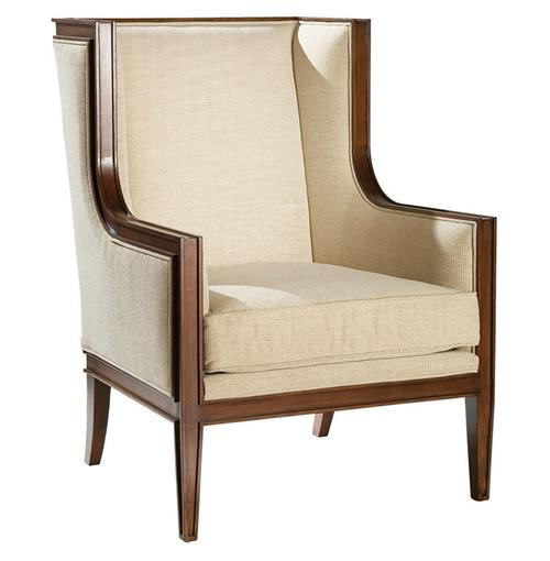 Gaston Hollywood Regency Walnut Wing Back Accent Chair