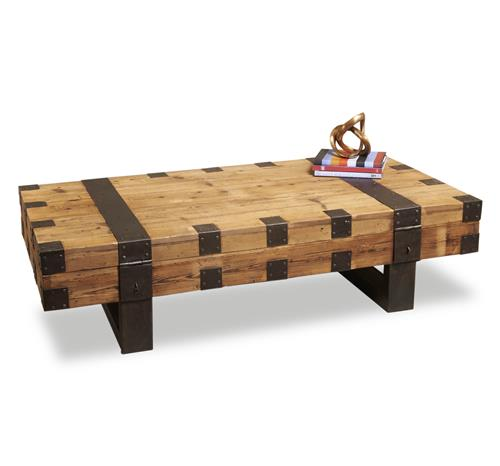 Gaston Reclaimed Wood Industrial Cocktail Table Kathy