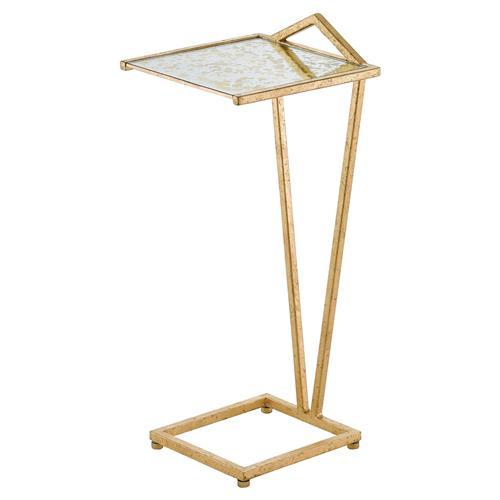 Gaynor Regency Gold Leaf Angular Handle Drink Table