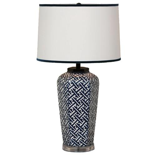 Geo Modern Blue White Patterned Hand Painted Porcelain Lamp
