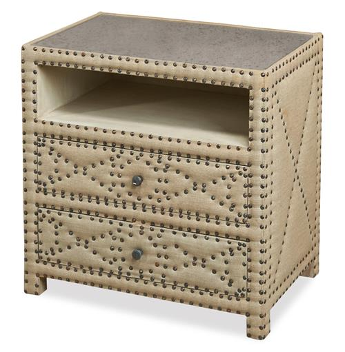 Giacomo Hollywood Regency Tufted 2 Drawer Nightstand
