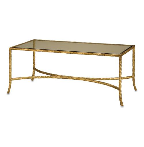 Gilt Twist French Deco Antique Gold Leaf Glass Coffee Table