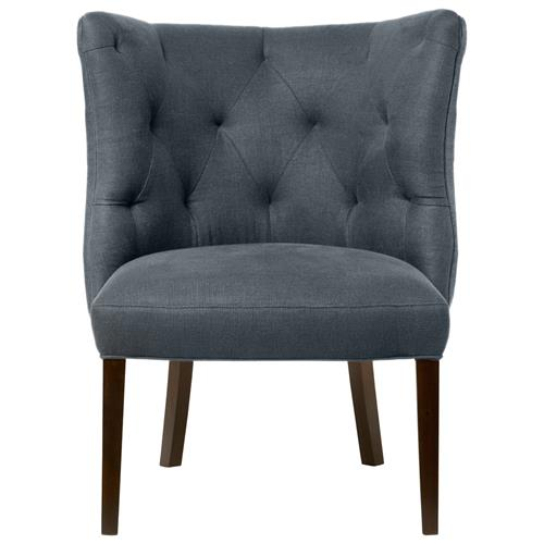 Goodman Hollywood Regency Feather Down Steel Grey Accent Chair