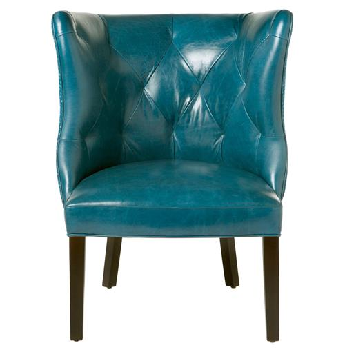 Goodman Hollywood Regency Feather Down Teal Blue Leather Accent Chair