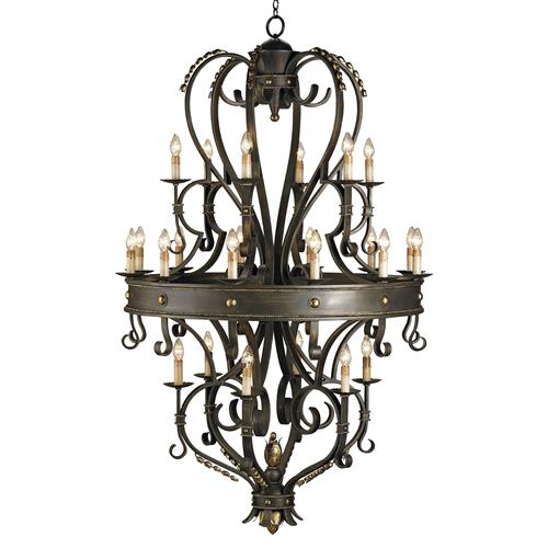 Grand Gothic Revival Black 24 Light Chandelier