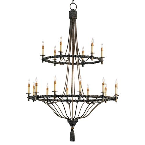 Grand Wrought Iron Double Tiered 18 Light Chandelier