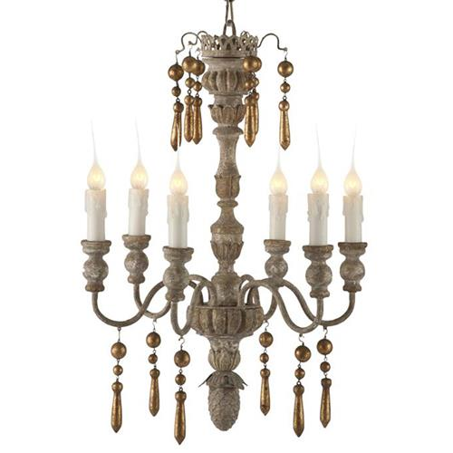 Grenoble French Country Gold 2 Tier 6 Light Chandelier
