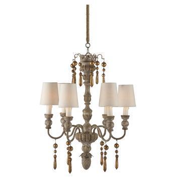 Grenoble French Country Gold Two Tier 6 Light Chandelier
