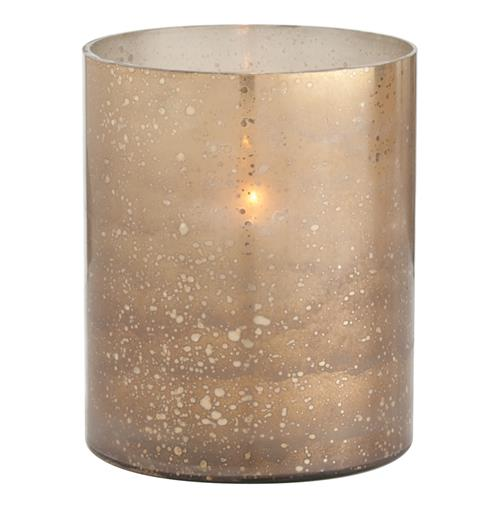 Hagar Small Glass Speckled Gold Modern Hurricane Candle Holder