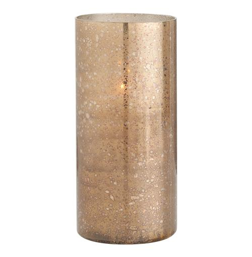 Hagar Tall Glass Speckled Gold Modern Hurricane Candle Holder