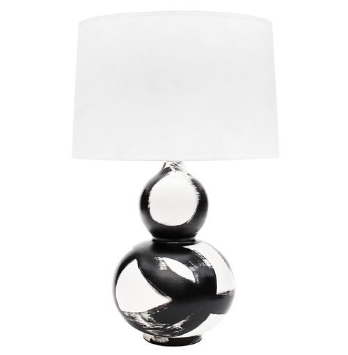 Hailey Hand Painted Gourd Shape Brushstroke Black Table