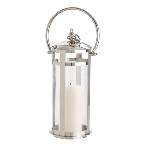 Hamptons Coastal Beach Small Polished Nickel Silver Floor Candle Lantern