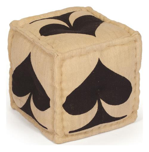 Hand Dyed House of Cards Black Spade Kilim Cube Ottoman | Kathy Kuo Home