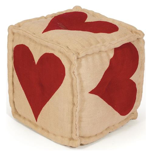 Hand Dyed House of Cards Red Heart Kilim Cube Ottoman