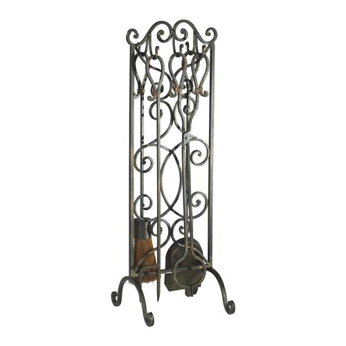 Harp Hearth Wrought Iron Scroll Fireplace Stand and Tool Set